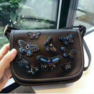 FREE SHIP Coach Bag sling crossbody with butterfly patches black