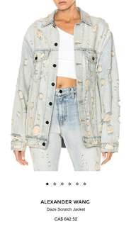 Alexander Wang Daze Distressed Jean Jacket XS