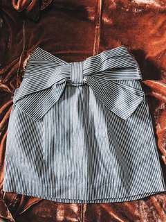 Striped Bow A-Line Skirt