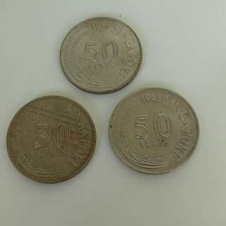 Old Coins - Singapore 50 cent coin - last 3