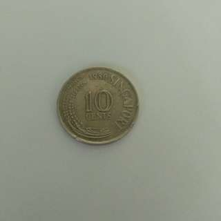 Old Coin - Singapore 10 cent coin - last