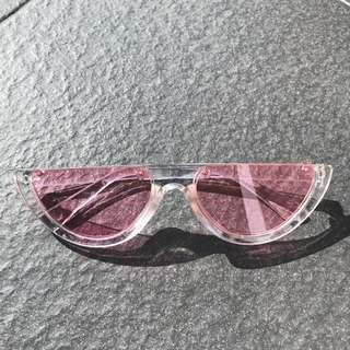 Rimless Pink Cat Eye Sun Glasses