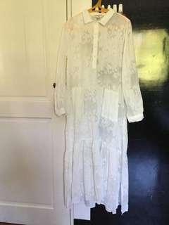 Free People white chiffon tunic dress