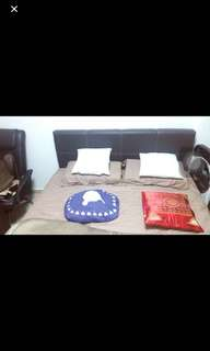 Queen size bed frame + Mattress (used)