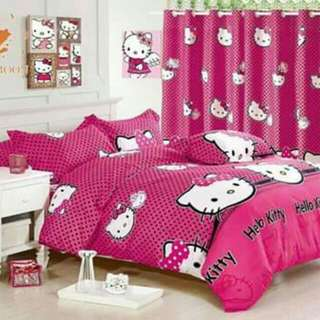 5 in 1 Hello Kitty 1 Bedsheet Set - Double