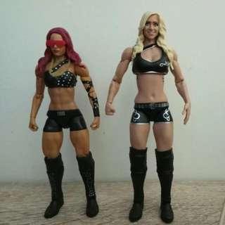 Wwe Divas Charlotte Flair & Sasha Banks Action Figure 6 Inch Mattel Dc Marvel Legends Compatible