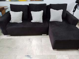 6-7 Seater Black Suede Sofa Set
