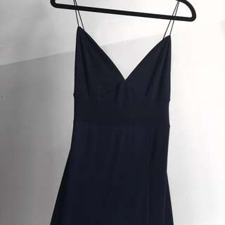 BOOHOO NIGHT Navy Blue Full Length Split Formal Dress SIZE10