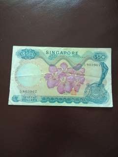 Old Singapore Orchid series $50 note