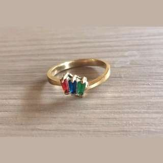 Vintage 90s Timeless Colored Stones Design Gold plated ring sz 8