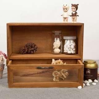 zakkz化妝收納木製玻璃抽屜儲物桌上櫃 W121