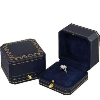 marry me求婚戒指高檔婚禮絨布按壓扣戒指盒方形 藍 W123