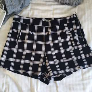 Checkered black & white shorts