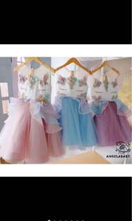 Unicorn tutu princess skirt dress infant toddler baby girl kids