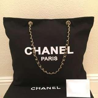 [PO SALE] Chanel Beaute Classy Chain Strap Canvas Tote Bag (Black) ASC3228 + FREE Post