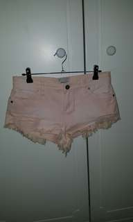Abrand Pale Pink Low-rise Denim Shorts