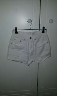 Silent Theory White High Waisted Denim Shorts