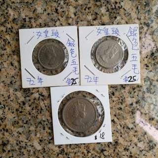 3個,60年=1個一元,72=2個五毫。