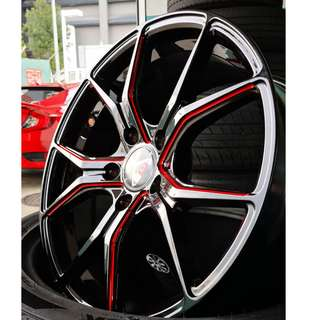 "Varro VD01 17"" Gloss Black w/ Red Lining 5X114.3"