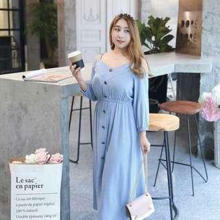 🍃Cold Shoulder Plus Size Button Dress