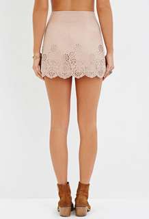 Forever 21 Laser Cut Faux Suede Mini Skirt
