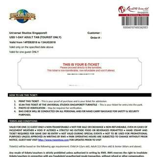CHEAP ADULT E-TICKET UNIVERSAL STUDIOS SINGAPORE