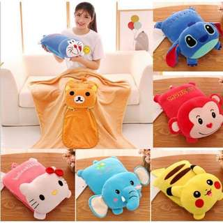 (Preorder) Cartoon 2 in 1 Blanket or cushion pillow