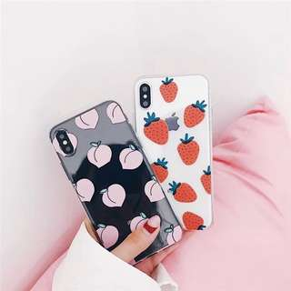 Fruits Strawberry and Peach Transparent iPhone case