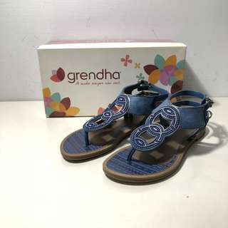 🚚 Grendha 巴西尺寸35(神祕印加女郎夾腳平底涼鞋-藍色)