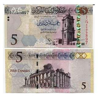 LIBYA 5 DINARS 2015 P 81 UNC