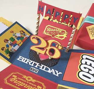 Happy 26 birthday LEGO Theme Explosion Box Card