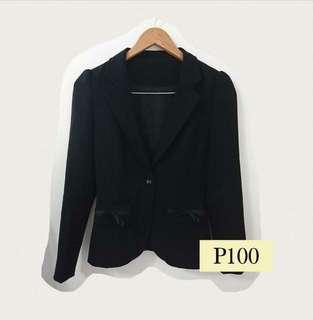 Korean Style Ribbon Pocket Black Coat