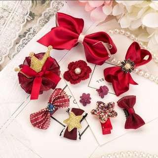 (Set 4) 10pcs Girl hair clips hair accessories set