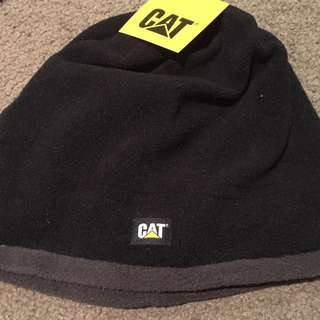 CAT Black Beanie With Grey Stripe