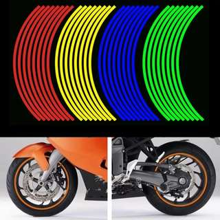 Newbee 16 Pcs Strips Motorcycle Wheel Sticker Reflective Decals Rim Tape Bike Car Styling