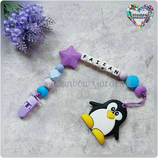 Handmade Customized Pacifier Clip with letter beads + Penguin Teether