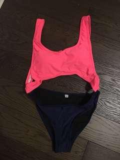 One piece cut out bathing suit