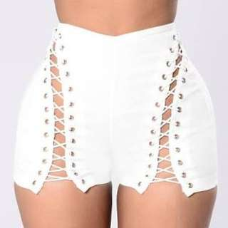 Fashion Nova Call from Richie Shorts - White 3x plus size