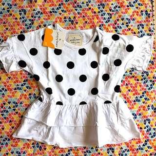 BNWT 3T Black Pokka Dots Dress/Top
