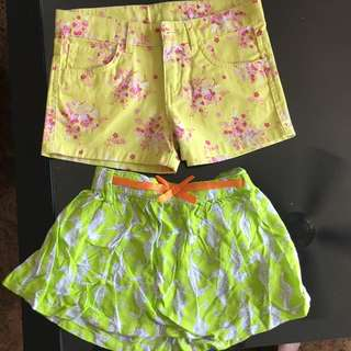 Shorts and skirt for 4 yr old. Will fit a 3 yr old.