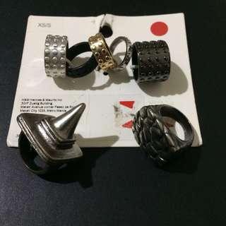 {BUNDLE} Set of Matte Grey & Black Rings