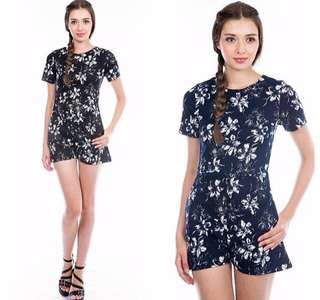 New the stage walk navy flo romper