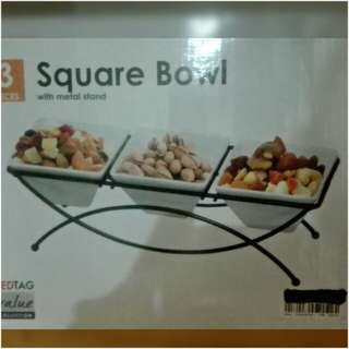 Square bowl with Metal Stand