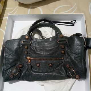 Balenciaga Part Time anthracite rose gold bag