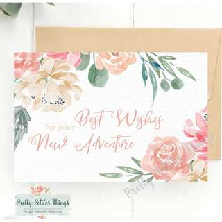 Customizabled Watercolour Floral Farewell Card - Best Wishes for Your New Adventure