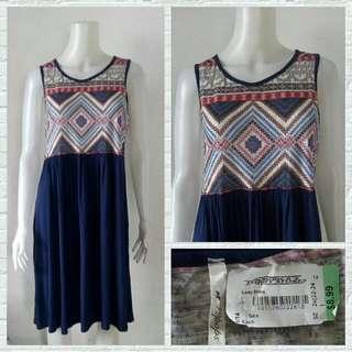 Plus Size 42Pops Navy Blue Aztec Dress