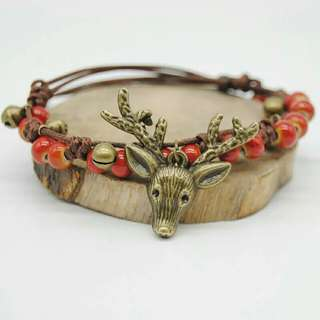 Deer copper bell bracelet