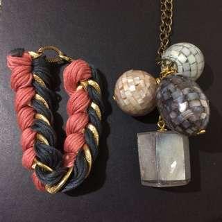 {BUNDLE} Cute Unique Chain Bracelet & Drop Necklace