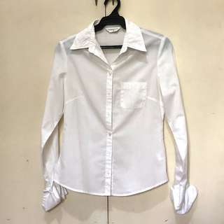 TOPSHOP White Long sleeved button up