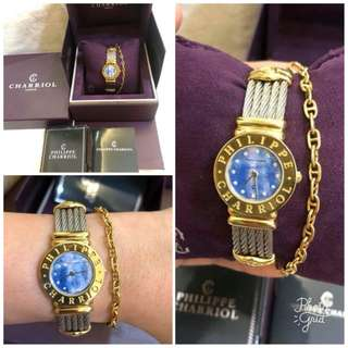 Charriol St. Tropez Authentic Blue Pearl Face 2 Tone Watch